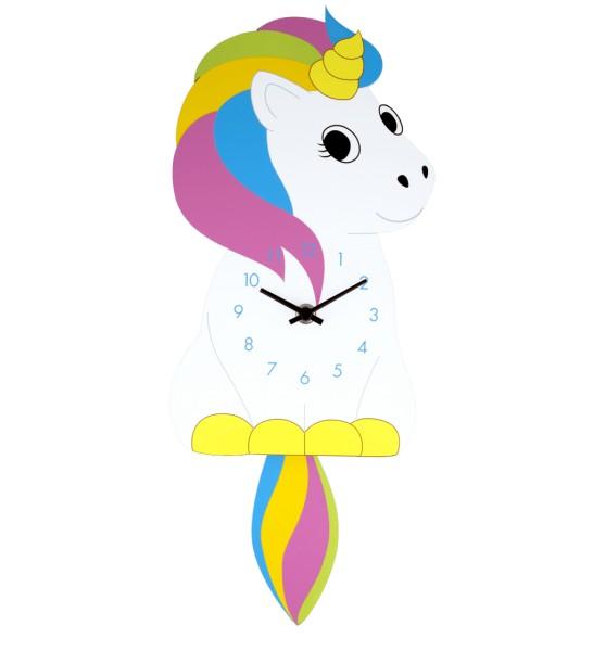 Pylones - Wanduhr Pendeluhr - Dancing Clock Unicorn - Einhorn bunt