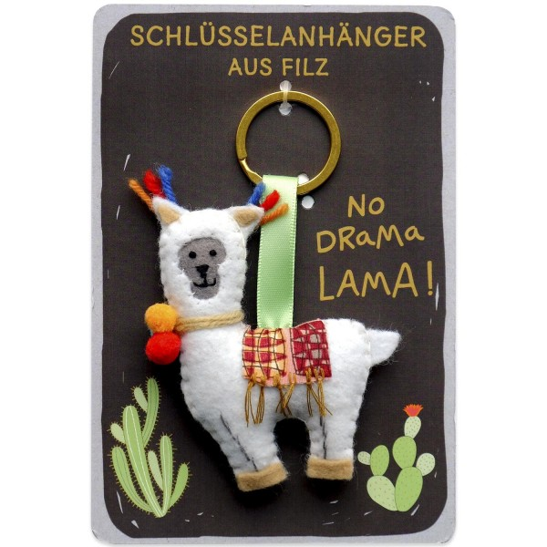 Happy Life - Schlüsselanhänger aus Filz - No Drama, Lama!
