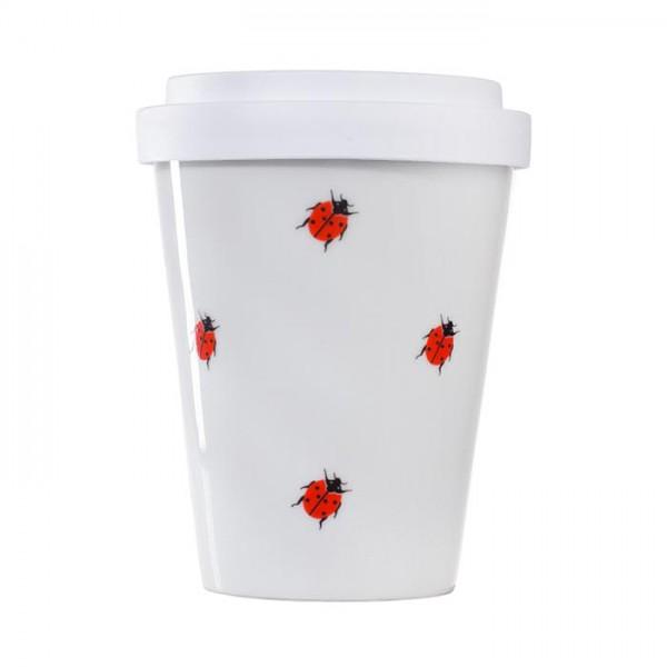 Coffee-to-go Becher aus Porzellan - mit Marienkäfer-Aufdruck