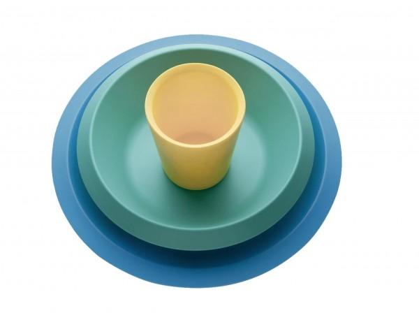 Alessi - Kindergeschirr 3er-Set - Giro Kids - blau türkis gelb