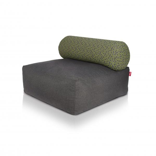 Fatboy - Sitzsessel Sofa Sitzhocker - Tsjonge - Dark Grey mit Kissen Circles Green