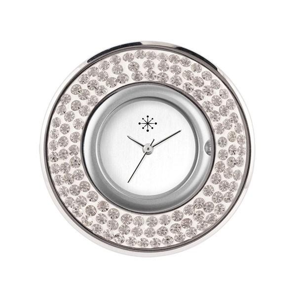 Deja Vu - Schmuckscheibe für Uhr - Edelstahlscheibe - Zirkonia Steine silber Ee 54