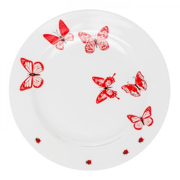 Speiseteller aus Porzellan - Mustermix rot weiss Schmetterling Marienkäfer - 28 cm