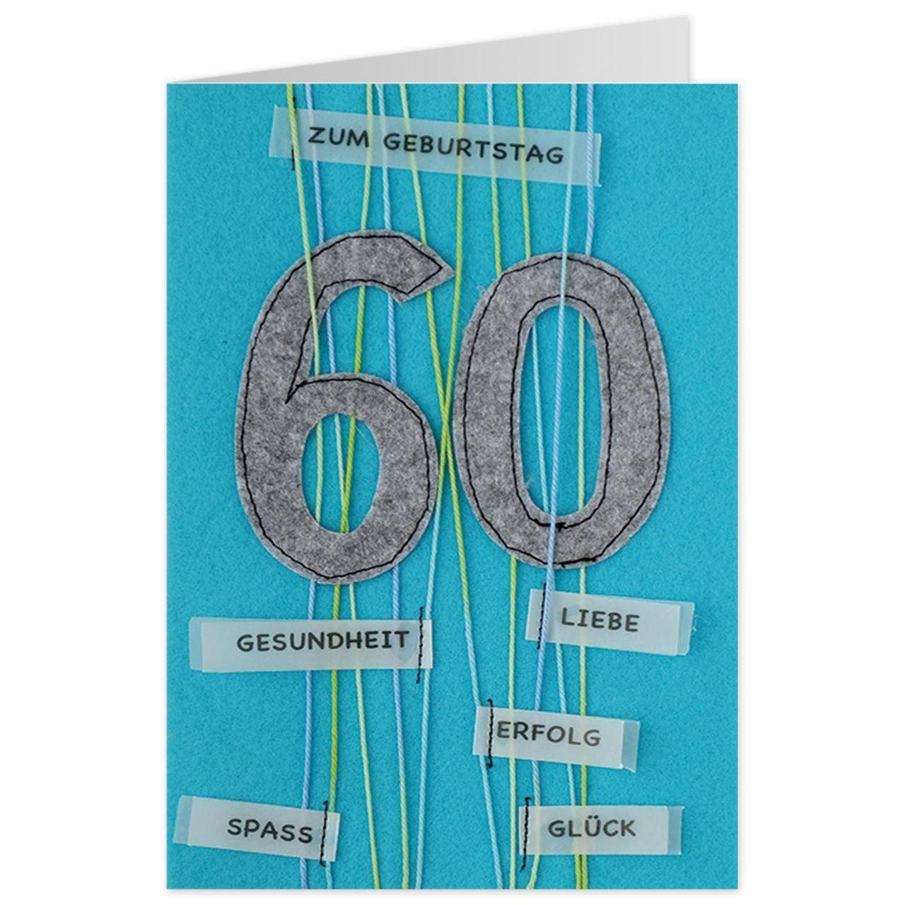 Karte 60 Geburtstag.Gruss Und Co Filzkarte 60 Geburtstag Zum Geburtstag Gesundheit Liebe Erfolg Spass Gluck