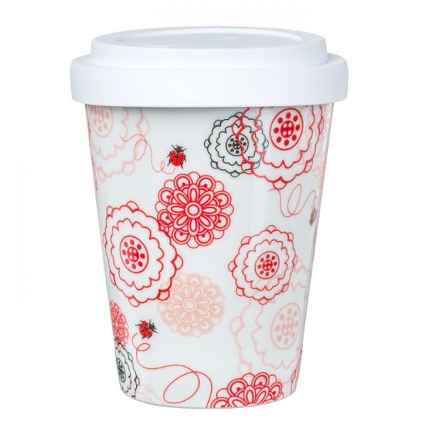 Coffee-to-go Becher aus Porzellan - Mustermix Käfer und Blumen - 0,3L