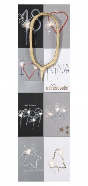 Wunderkerze - Wondercandle - Zahl 0 - Null - gold