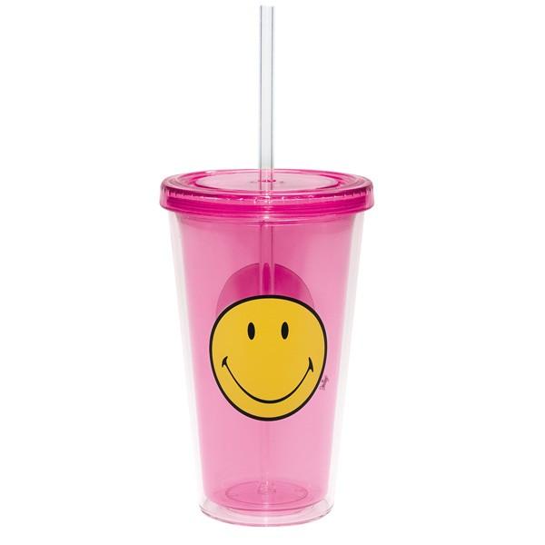 zak! Designs - Trinkbecher Trinkflasche mit Strohhalm - Smiley fuchsia