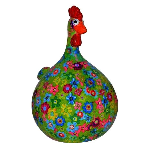 Spardose - Huhn Marie - grün Blumen klein