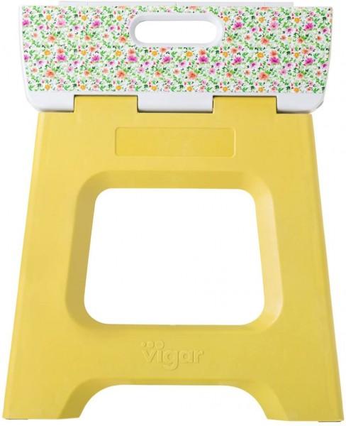 Vigar - Klapphocker Tritthocker - gelbgrün mit Blumen-Muster