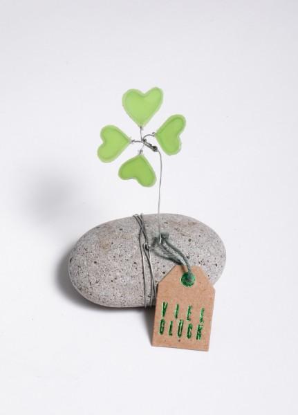 Glücksbringer - Stein mit Kleeblatt - Glücksklee Stein - grün