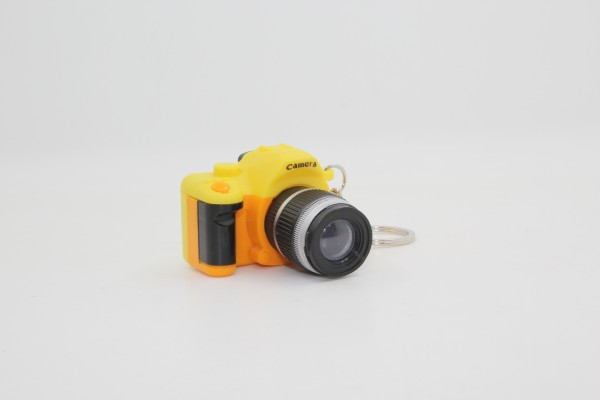 Schlüsselanhänger Fotoapparat mit Licht und Sound - Kamera - gelb