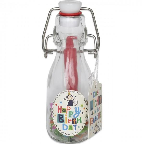 Gruss und Co - Kerze - Das Licht aus der Flasche - Flaschenlicht - Happy Birthday Affe