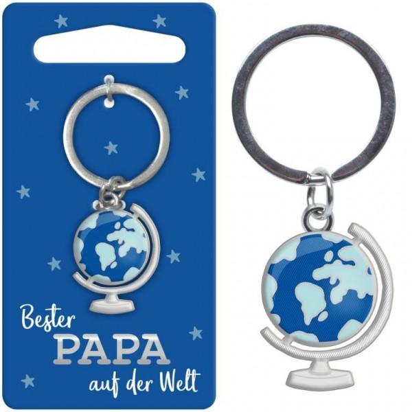 Sheepworld - Mini Schlüsselanhänger Globus - Bester Papa auf der Welt