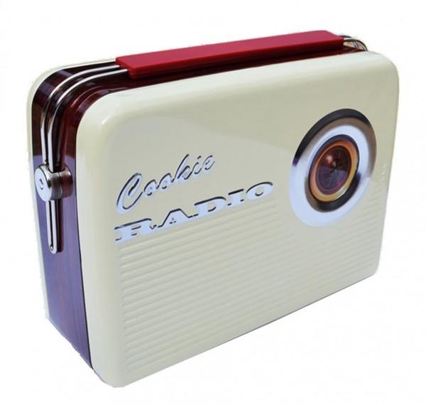 Blechdose - Geschenkbox Keksdose Radio - Cookie Radio beige