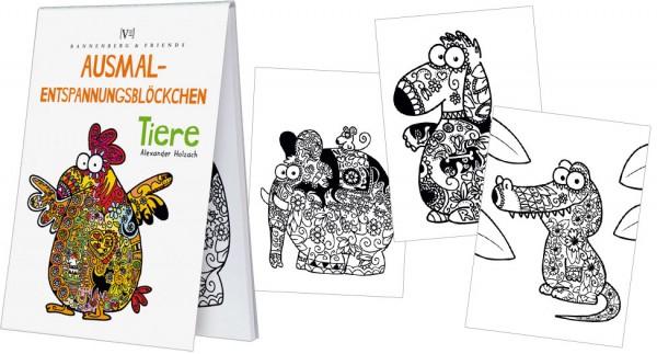 Spieleblöckchen - Ausmalentspannungsblöckchen Tiere - 25 Blatt
