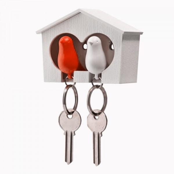 Qualy Schlüsselanhänger Sparrow weiß//rot
