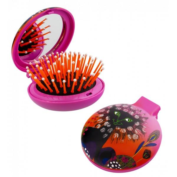 Pylones - Pocket Haarbürste mit Spiegel - Lady Retro - Papillon