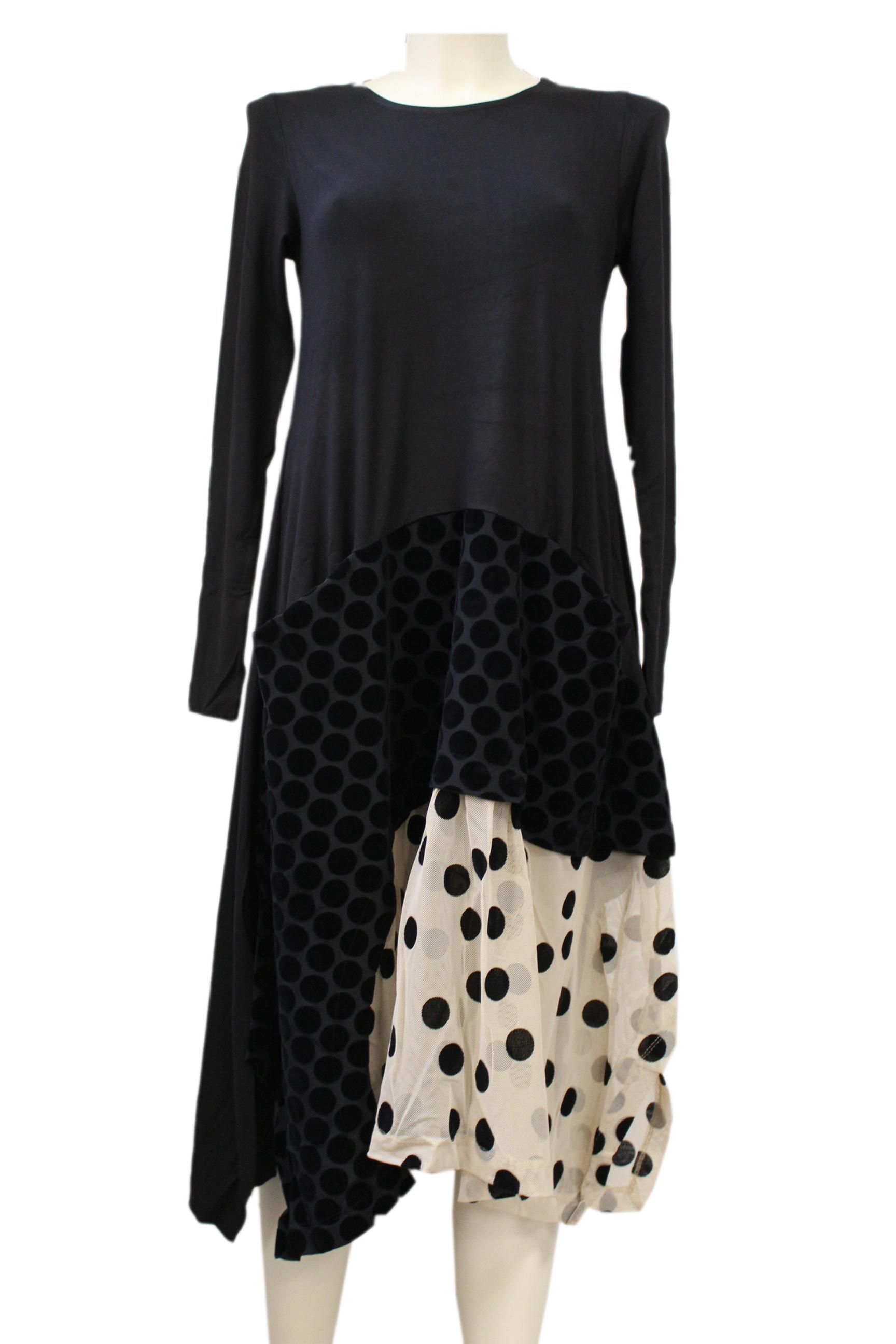 alembika - kleid abendkleid - schwarz creme mit schwarzen punkten