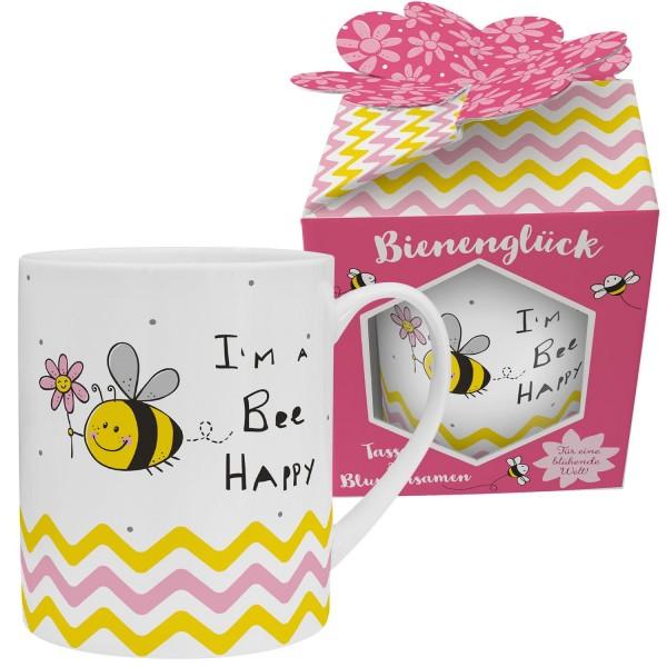 Sheepworld - XL Tasse Jumbobecher mit Blumensamen Geschenk-Set - Bee Happy