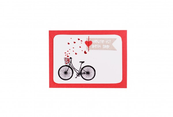 Karte - Mini-Kärtchen - Fahrrad - Heute ist dein Tag