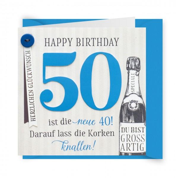 Karte 50 Geburtstag.Gruss Und Co Knopfkarte Geburtstag 50 Geburtstag