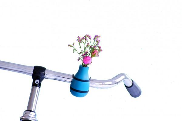 Fahrradvase Blumenvase - Holzvase Frieda - blau