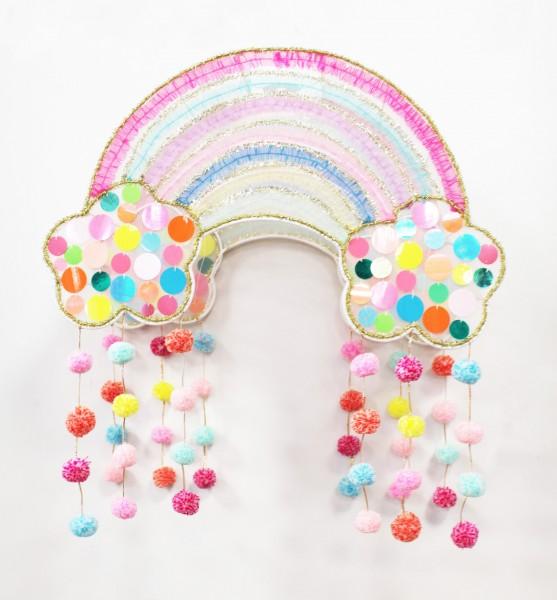 Lampenschirm Regenbogen bunt - Metall Stoff Handarbeit - Rainbow klein