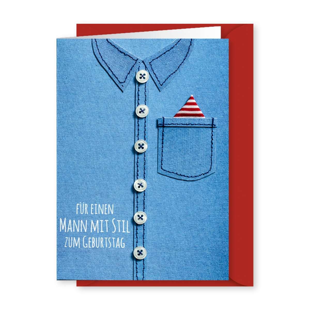 Gruss und Co - Knopfkarte Geburtstag - Für einen Mann mit
