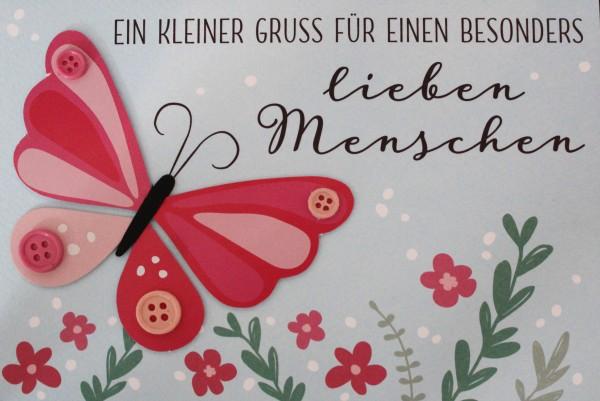 Gruss und Co - Knopfkarte - Schmetterling - Ein kleiner Gruß