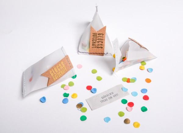 Mini-Spruchkärtchen im Papier-Tütchen - Glücksbotschaft