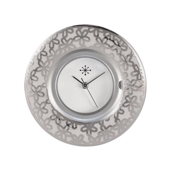 Deja Vu - Edelstahlscheibe - Blumen silber weiß- E-E48