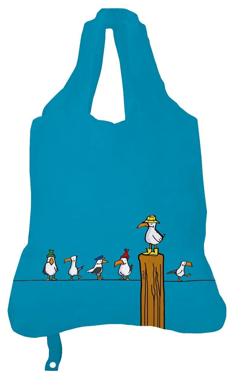 Faltbare Einkaufstasche Einkaufsbeutel Emma Mwen Blau Tote Blue Print Pigmento Kunst Design