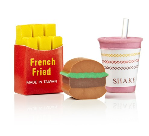 Radiergummis - Fast Food Pommes Burger Shake Rubber Grub Erasers