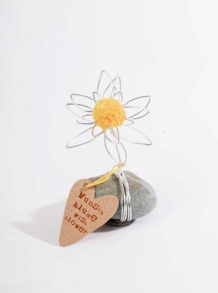 Glücksblume - Stein mit Draht - Blume gelb