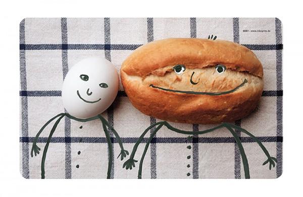 Frühstücksbrettchen - Ei und Brötchen