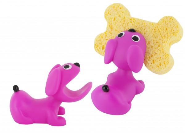 Pylones - Schwammhalter inkl. Schwamm - Hund - Clean! - pink