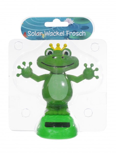 Solarfigur - Tanzender Wackel-Froschkönig Solar - grün mit Krone