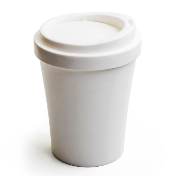 Qualy - Tischabfalleimer Kaffeebecher - Mini Coffee Bin weiß
