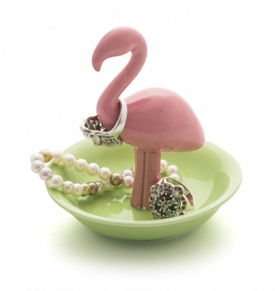 Ringhalter Schmuck-Organizer aus Porzellan - Flamingo