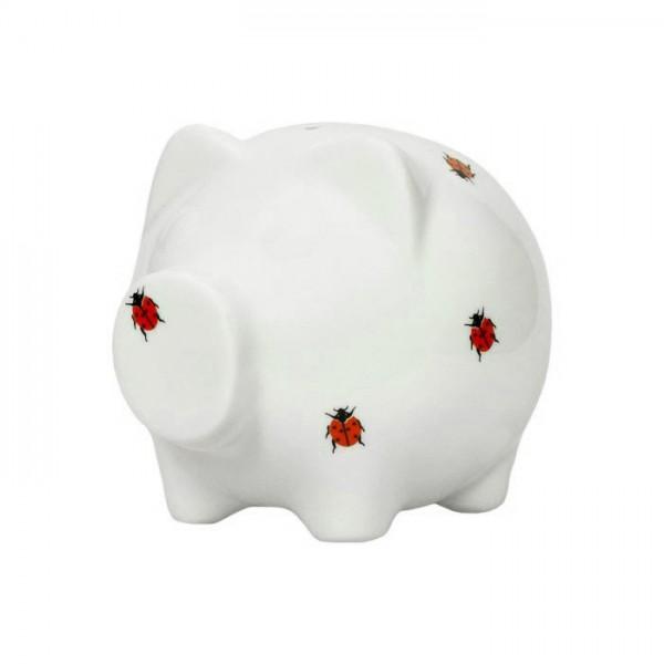 Spardose aus Porzellan - Sparschwein weiss mit Marienkäfer-Aufdruck