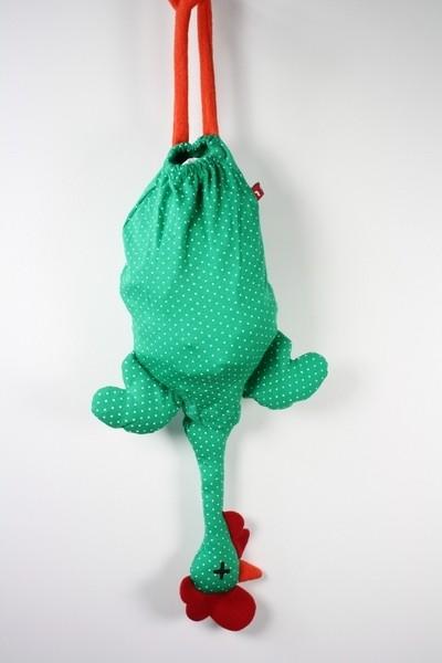 Tütenhuhn Etelvina - Behälter für Plastiktüten - Punkte grün weiß