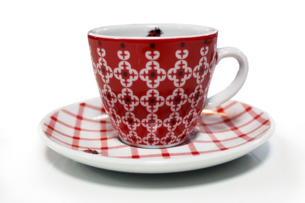 Espressotasse mit Untertasse Mustermix mit Marienkäfer-Aufdruck