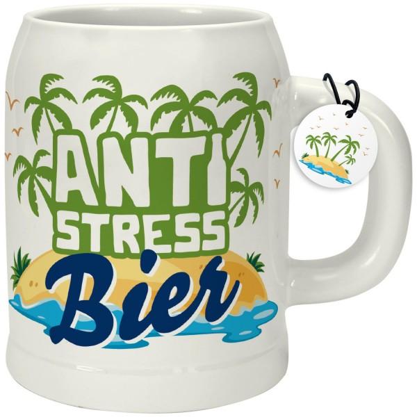 Happy Life - Bierkrug aus Porzellan Bierglas - Anti Stress Bier