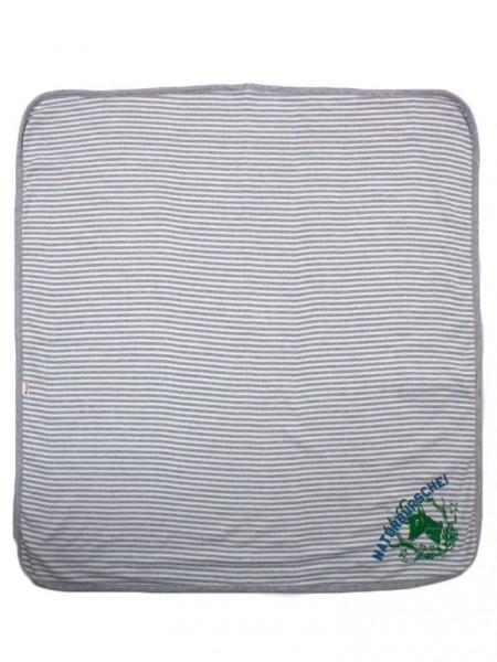 Adelheid - Naturbursche Babydecke - ringel weiß silbergrau