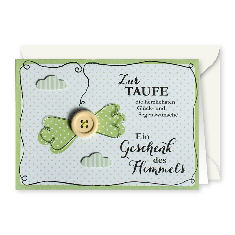 Gruss Und Co Knopfkarte Taufe Ein Geschenk Des Himmels Pigmento Kunst Design