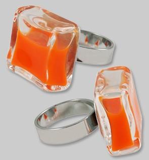 Pylones - Ring - Hefyglass Carré Milk - Flüssigkeit Orange