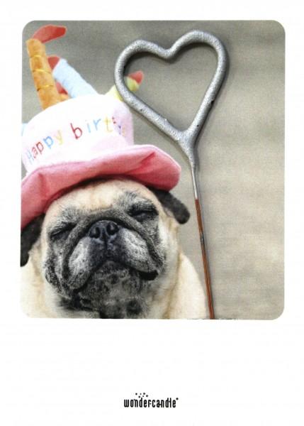 Wondercandle - Mini-Grußkarte mit Wunderkerze - Mops Geburtstag