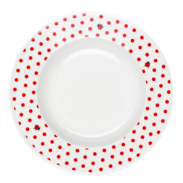 Suppenteller Teller Tief aus Porzellan - Mustermix Punkte Marienkäfer rot weiß - 23 cm