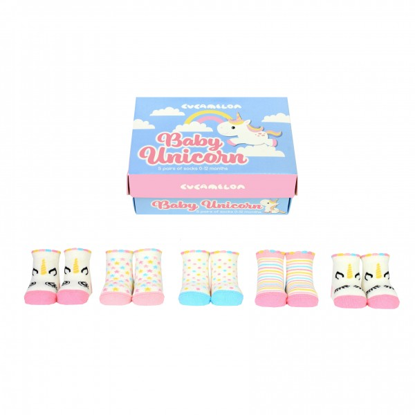 Cucamelon - Babysocken - Baby Unicorn Einhorn 5er-Set - 0 bis 12 Monate