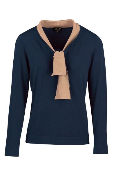 Zilch - Langarmshirt mit Schleife - Top Bow - two tone navy blau beige